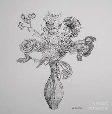 Vase Of Flowers Drawing Flower Vase Drawing By William Dietrich