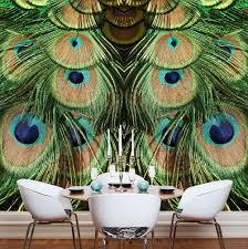 jade peacock mural wallpaper