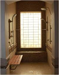 bathroom natural brown doorless shower design with mosaic tile
