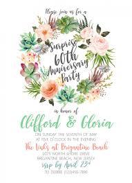 succulent wreath wedding anniversary bridal shower invitation