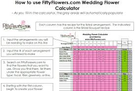 cost of wedding flowers wedding flower recipe worksheet fiftyflowers