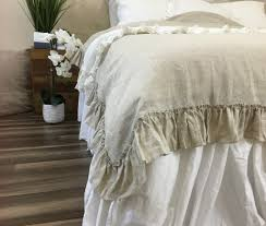 linen duvet cover with country ruffle style handcrafted by