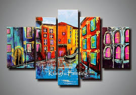 Wall Decor Canvas 100 Hand Painted Abstract Unframed 5 Panel Canvas Art Living Room