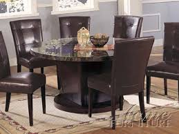 danville 5 piece round black marble top dining set in espresso