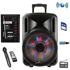 bluetooth party speakers with lights befree sound 12 inch woofer portable bluetooth powered pa tailgate