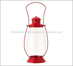 red color iron t light candlestick lantern for garden and home
