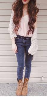 light brown combat boots cardigan light pink blouse blue jeans brown combat boots