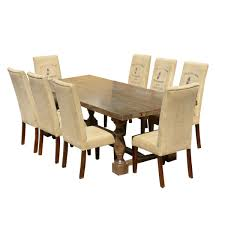 logo mango dining table set with fabric upholstered chairs