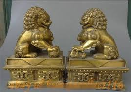lion foo dog 8 folk brass fengshui guard lion fu foo dog pixiu beast