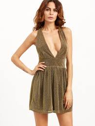 gold party dress gold v neck sparkle detail party dress shein sheinside