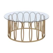 shop living clear glass round coffee table at lowes com
