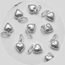 12 sterling silver small puffed charm pendants wholesale