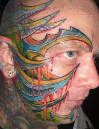 biomechanical tattoo face color ink biomechanical face tattoo