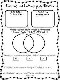 multiples and factors worksheet worksheets