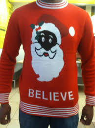 my black friend was wearing this festive sweater he got from