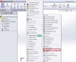 how to use solidworks parabola sketching tool