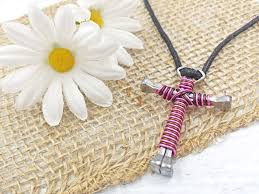cross necklace pink images Wire wrapped horseshoe nail cross necklace light pink jpg