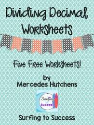 this contains five worksheets to practice dividing decimals i