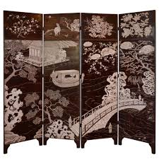 Four Panel Room Divider Coromandel Four Panel Screen In Brown And White