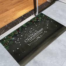Coral Bath Rugs Merry Christmas Printed Coral Fleece Antislip Bath Rug Dark Grey
