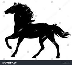 mustang horse silhouette running horse silhouette black vector outline stock vector