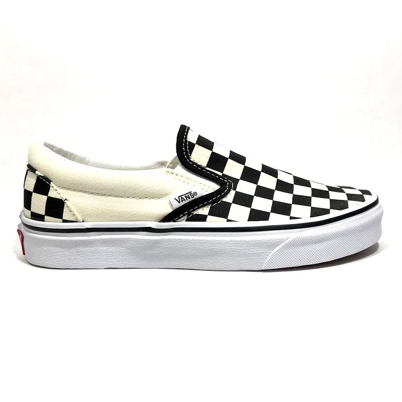 Vans Classic Slip-On (Black & White Checkerboard/White) Skate Shoes-11.5