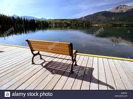 bench on a dock at pyramid lake jasper national park alberta