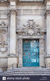 up of doorway baroque ornamentation and blue faded