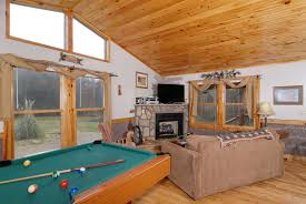 our secret rendezvous wear s valley one bedroom chalet rental pigeon forge one bedroom cabin with a pool table that over looks the living room area tennessee vacation cabin rental