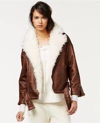 cheap moto jacket rachel rachel roy faux shearling moto jacket in brown lyst