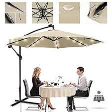 10 Ft Offset Patio Umbrella Amazon Com Sunnydaze Steel 10 Foot Offset Solar Led Patio