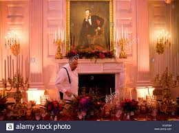 preparations in the state dining room of the white house for the