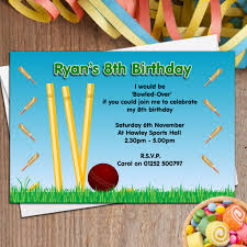 My Birthday Invitation Card 10 Personalised Cricket Birthday Party Invitations N46