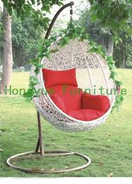 outdoor egg shape white rattan hanging basket furniture rattan