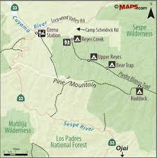 Ojai California Map Trail Quest Reyes Creek Songs Of The Wilderness