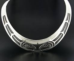 silver choker collar necklace images Northwest coast native silver choker collar necklace oxidized jpg