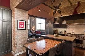 Loft Kitchen Ideas Home Design Exposed Brick Wall In Great Loft Kitchen Room Design