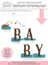Fishing Themed Baby Shower - fishing themed printable baby shower banner pdf instant download