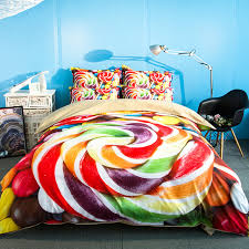 free shipping holiday gift colorful candy sweets pattern bedding