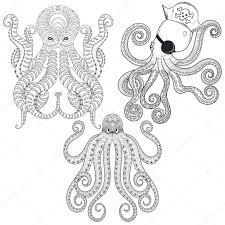 tattoo octopus set hand drawn zentangle tribal octopuses for ad