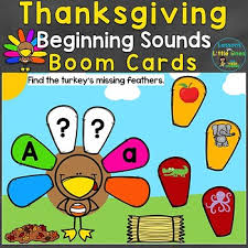 thanksgiving beginning sounds letter sounds boom cards digital