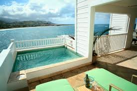 great backyard decoration using white wood swimming pool ladder
