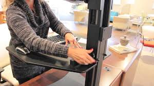 Sit Stand Desk Converter by High Rise Desk Converters Youtube