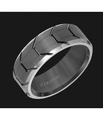 gunmetal wedding band tungsten carbide comfort fit mens band with gunmetal tread design
