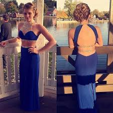 2 piece prom dresses with rhinestones backless long tight
