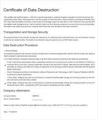 certificate of destruction templates 9 free pdf format download