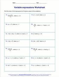 algebra worksheet missing numbers in equations variables