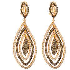 gold dangle earrings gold dangle earrings with brown diamonds