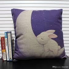 Purple Patio Cushions by Novelty Gift Lovely Animal Rabbit Sleep On Moon Star Pattern