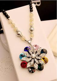 big necklace pendants images Luxury colorful cubic zirconia semi precious stone necklace jpg